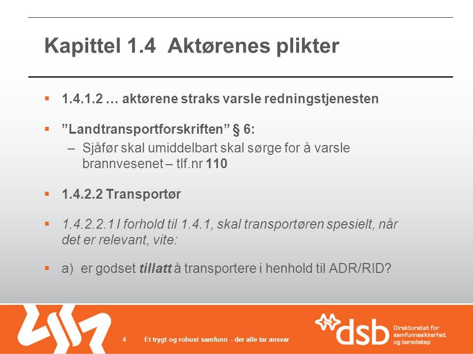 Kapittel 1.4 Aktørenes plikter  1.4.1.2 … aktørene straks varsle redningstjenesten  Landtransportforskriften § 6: –Sjåfør skal umiddelbart skal sørge for å varsle brannvesenet – tlf.nr 110  1.4.2.2 Transportør  1.4.2.2.1 I forhold til 1.4.1, skal transportøren spesielt, når det er relevant, vite:  a) er godset tillatt å transportere i henhold til ADR/RID.