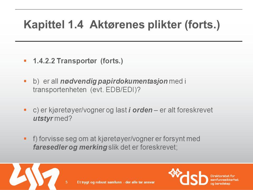 Kapittel 1.4 Aktørenes plikter (forts.)  1.4.2.2 Transportør (forts.)  b) er all nødvendig papirdokumentasjon med i transportenheten (evt.