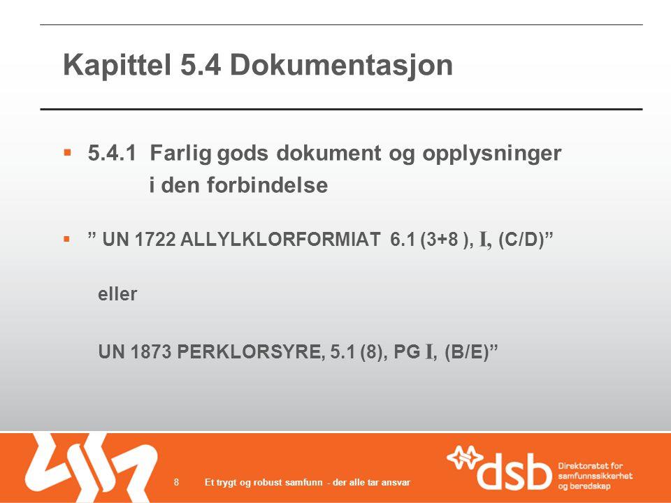 Kapittel 5.4 Dokumentasjon  5.4.1 Farlig gods dokument og opplysninger i den forbindelse  UN 1722 ALLYLKLORFORMIAT 6.1 (3+8 ), I, (C/D) eller UN 1873 PERKLORSYRE, 5.1 (8), PG I, (B/E) Et trygt og robust samfunn - der alle tar ansvar8