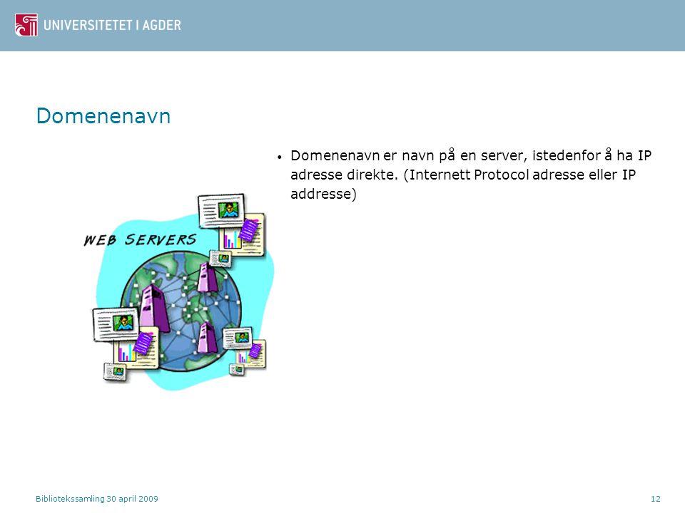 Bibliotekssamling 30 april 200912 Domenenavn Domenenavn er navn på en server, istedenfor å ha IP adresse direkte. (Internett Protocol adresse eller IP