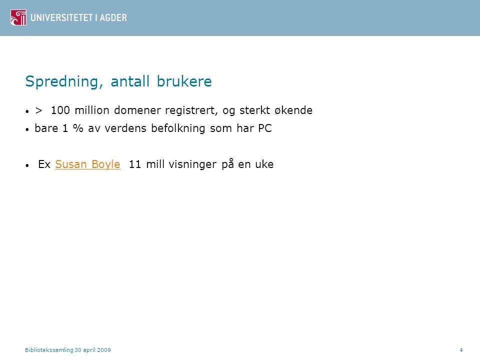 Bibliotekssamling 30 april 20094 Spredning, antall brukere > 100 million domener registrert, og sterkt økende bare 1 % av verdens befolkning som har P