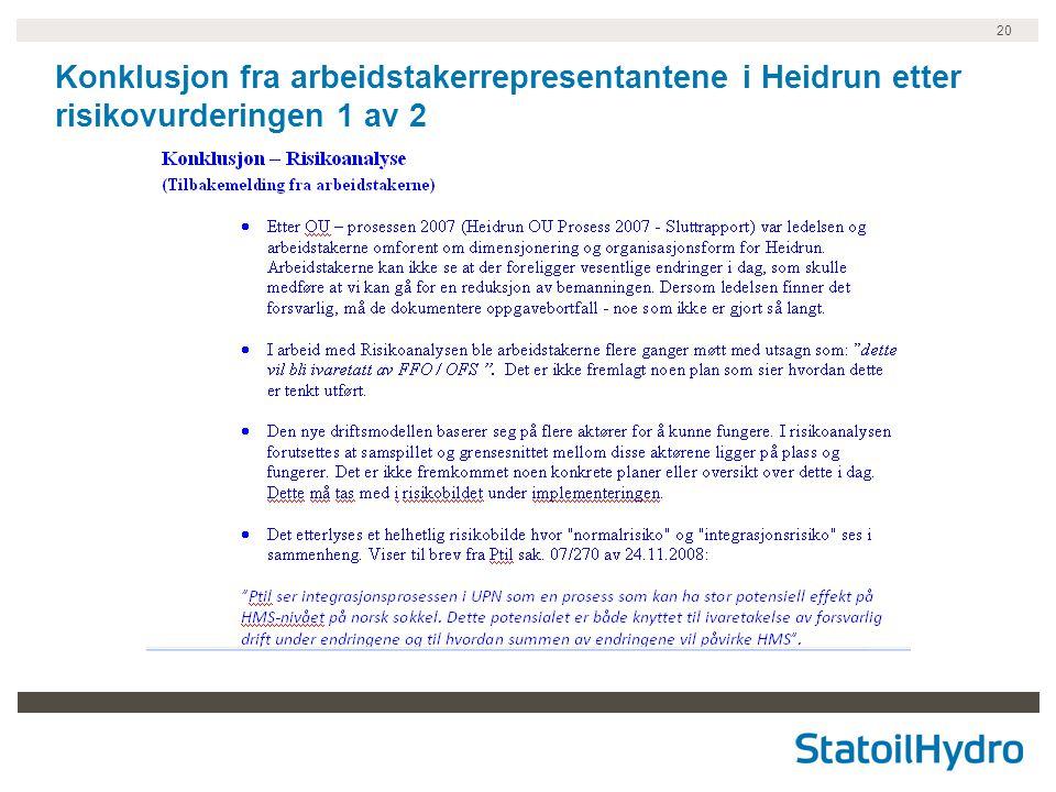 20 Konklusjon fra arbeidstakerrepresentantene i Heidrun etter risikovurderingen 1 av 2
