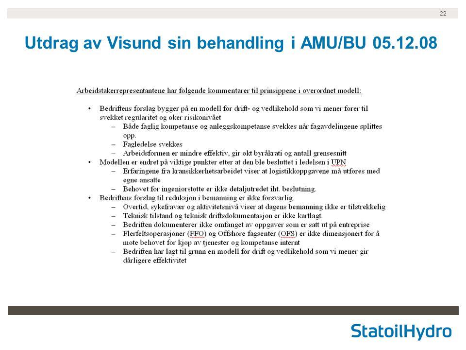 22 Utdrag av Visund sin behandling i AMU/BU 05.12.08