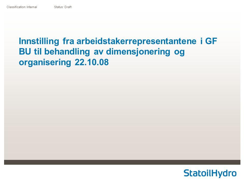 Classification: Internal Status: Draft Innstilling fra arbeidstakerrepresentantene i GF BU til behandling av dimensjonering og organisering 22.10.08
