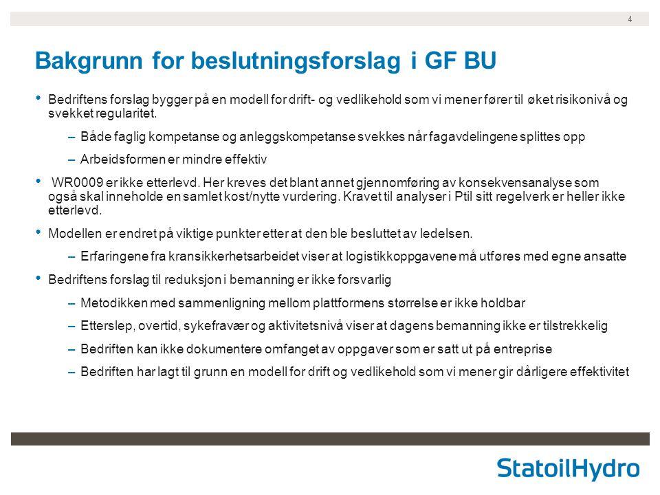 4 Bakgrunn for beslutningsforslag i GF BU Bedriftens forslag bygger på en modell for drift- og vedlikehold som vi mener fører til øket risikonivå og s