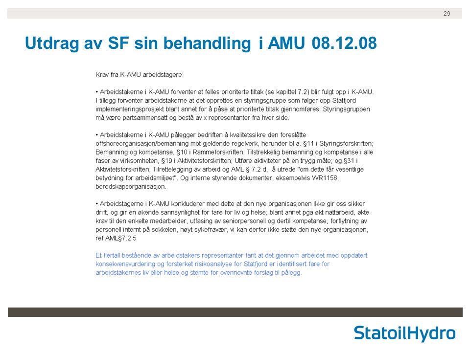 29 Utdrag av SF sin behandling i AMU 08.12.08