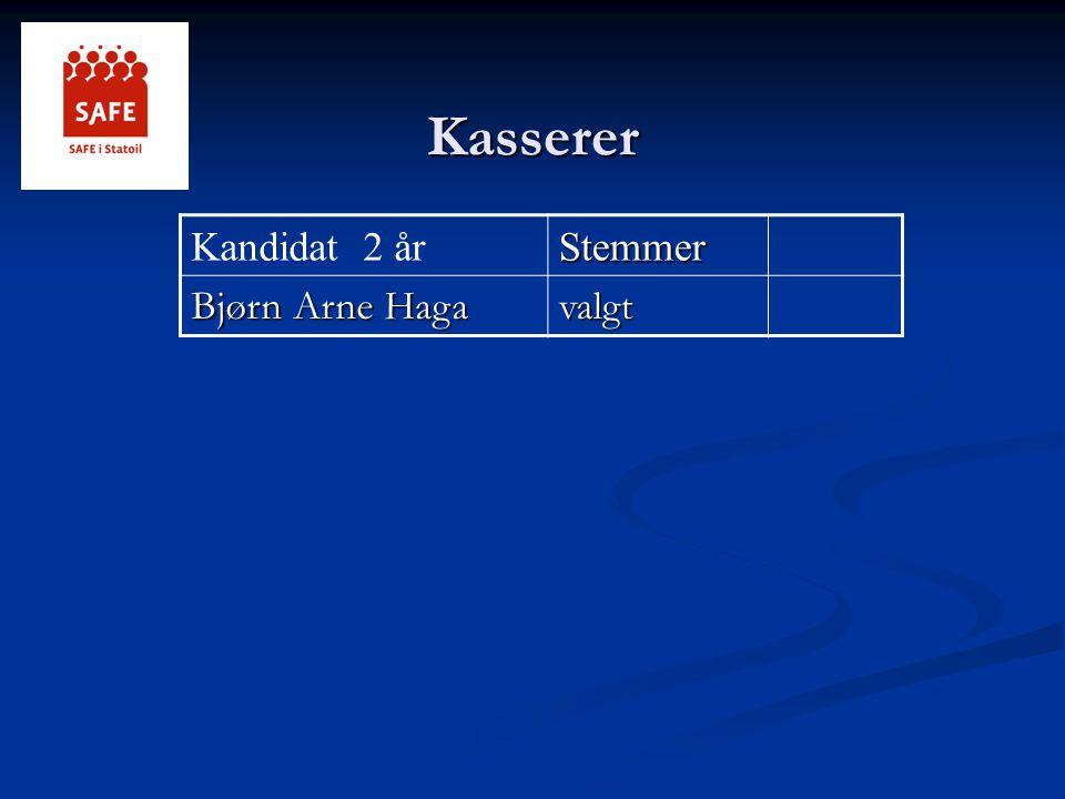 Kasserer Kandidat 2 årStemmer Bjørn Arne Haga valgt
