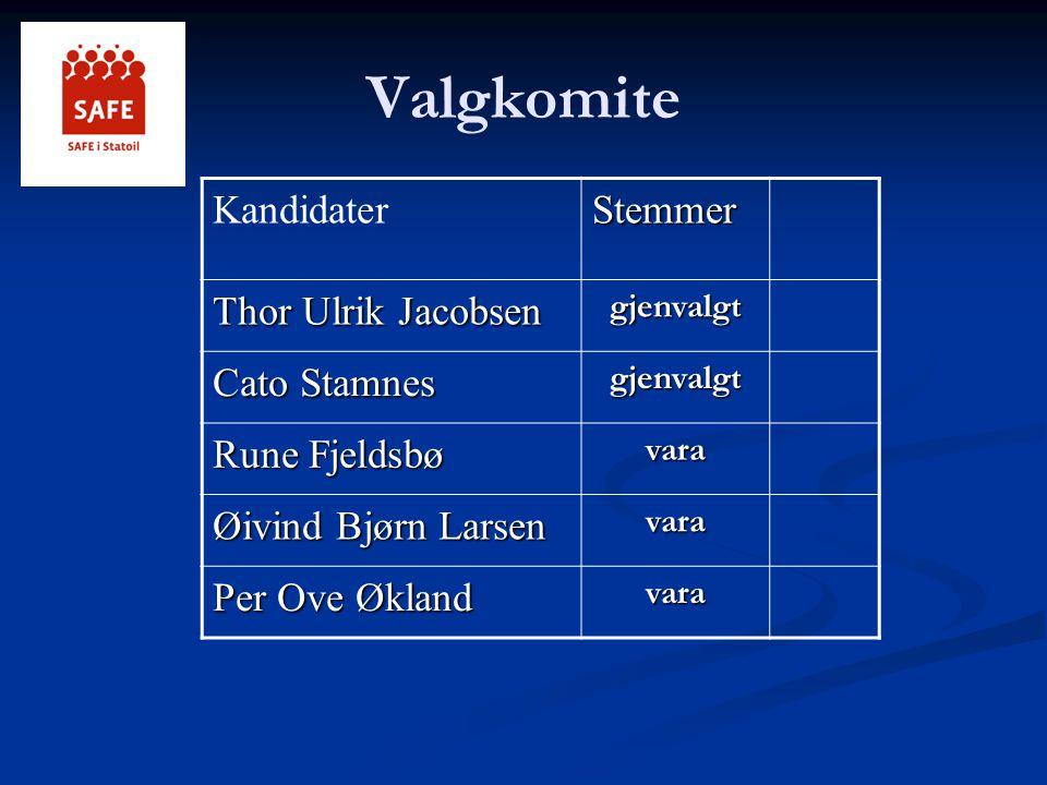 Valgkomite KandidaterStemmer Thor Ulrik Jacobsen gjenvalgt Cato Stamnes gjenvalgt Rune Fjeldsbø vara Øivind Bjørn Larsen vara Per Ove Økland vara