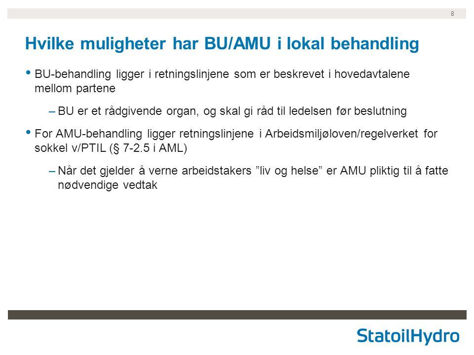 8 Hvilke muligheter har BU/AMU i lokal behandling BU-behandling ligger i retningslinjene som er beskrevet i hovedavtalene mellom partene –BU er et råd