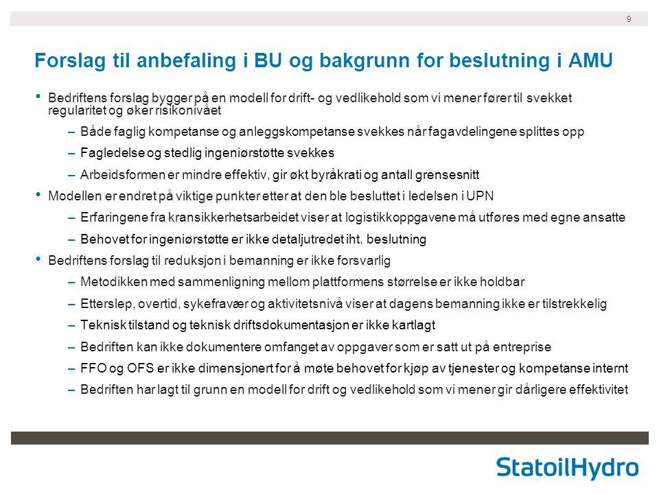 9 Forslag til anbefaling i BU og bakgrunn for beslutning i AMU Bedriftens forslag bygger på en modell for drift- og vedlikehold som vi mener fører til