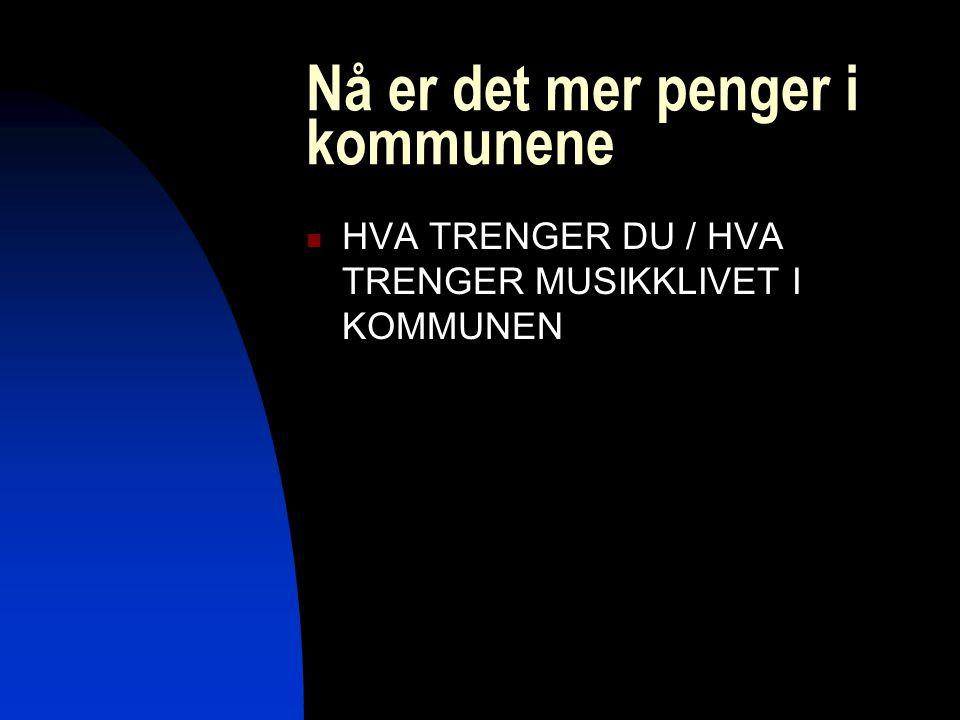 Nå er det mer penger i kommunene HVA TRENGER DU / HVA TRENGER MUSIKKLIVET I KOMMUNEN
