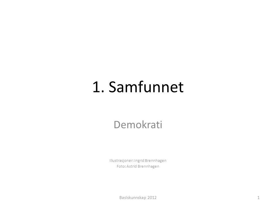 1. Samfunnet Demokrati Illustrasjoner: Ingrid Brennhagen Foto: Astrid Brennhagen 1Basiskunnskap 2012