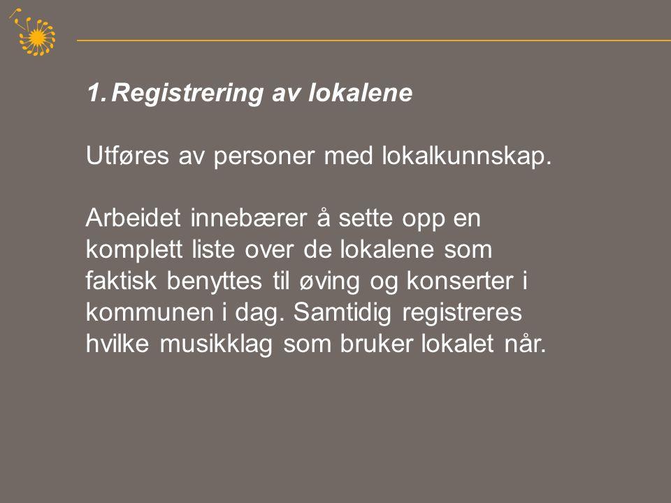 1.Registrering av lokalene Utføres av personer med lokalkunnskap.
