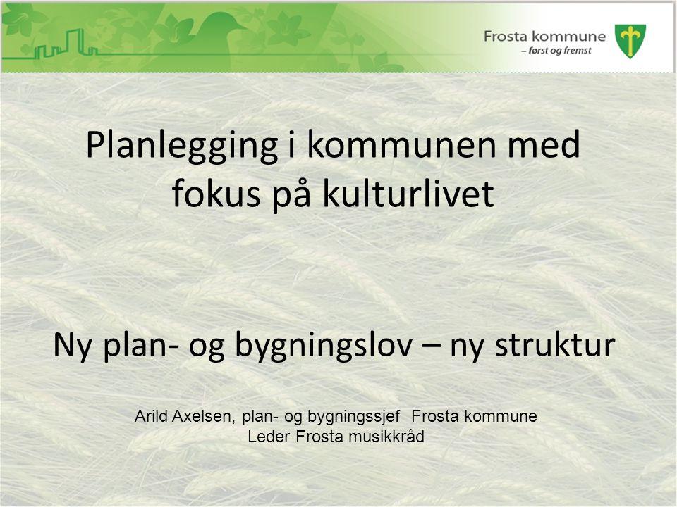 Ny plan- og bygningslov – ny struktur Planlegging i kommunen med fokus på kulturlivet Arild Axelsen, plan- og bygningssjef Frosta kommune Leder Frosta musikkråd
