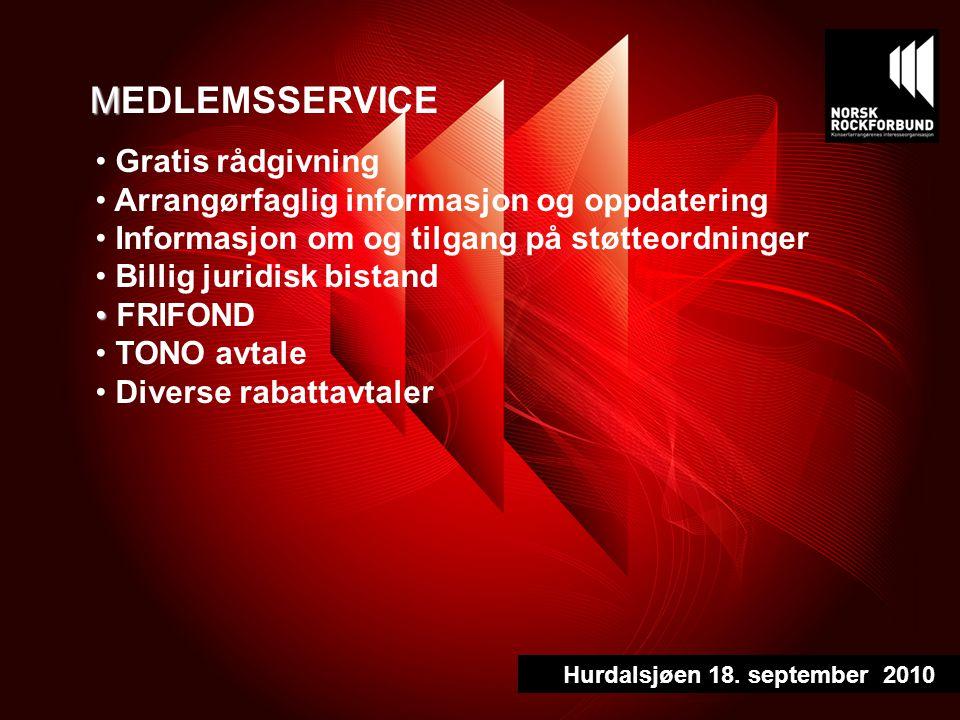 M MEDLEMSSERVICE Gratis rådgivning Arrangørfaglig informasjon og oppdatering Informasjon om og tilgang på støtteordninger Billig juridisk bistand FRIFOND TONO avtale Diverse rabattavtaler Hurdalsjøen 18.