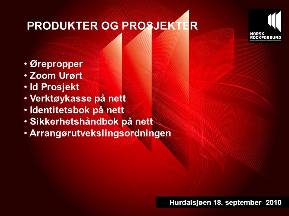 P PRODUKTER OG PROSJEKTER Ørepropper Zoom Urørt Id Prosjekt Verktøykasse på nett Identitetsbok på nett Sikkerhetshåndbok på nett Arrangørutvekslingsordningen Hurdalsjøen 18.