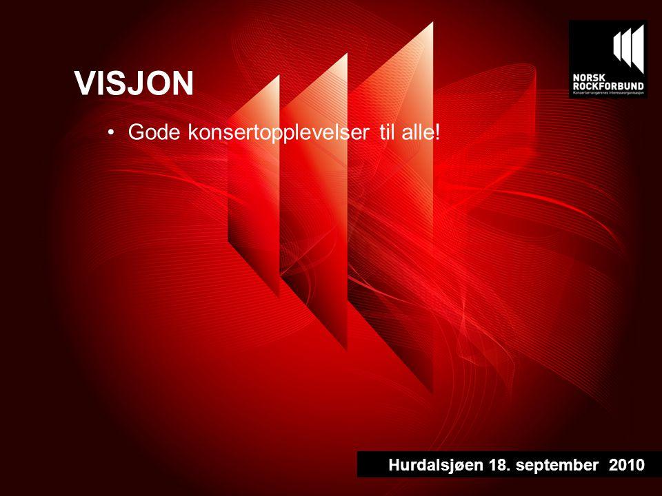 VISJON Gode konsertopplevelser til alle! Hurdalsjøen 18. september 2010