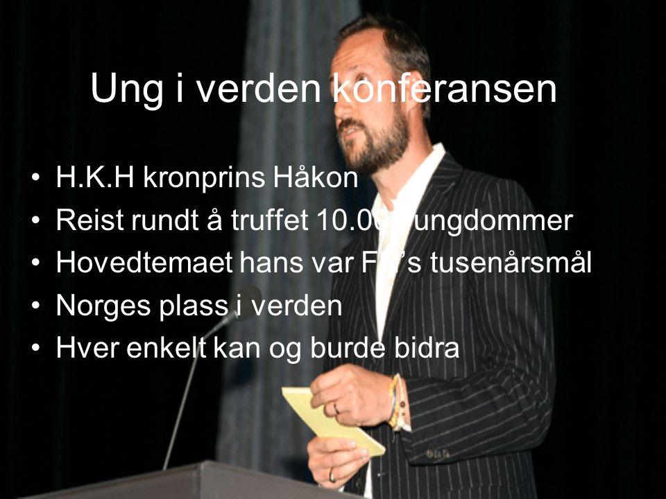 Ung i verden konferansen H.K.H kronprins Håkon Reist rundt å truffet 10.000 ungdommer Hovedtemaet hans var FN's tusenårsmål Norges plass i verden Hver enkelt kan og burde bidra