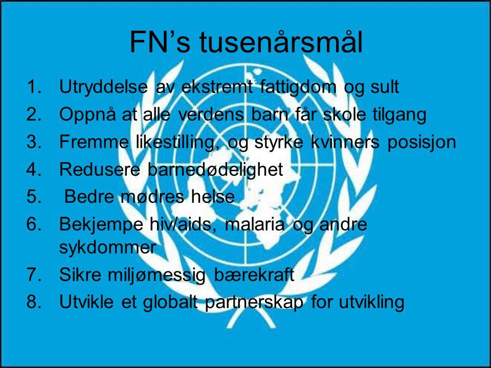 FN's tusenårsmål 1.Utryddelse av ekstremt fattigdom og sult 2.Oppnå at alle verdens barn får skole tilgang 3.Fremme likestilling, og styrke kvinners posisjon 4.Redusere barnedødelighet 5.