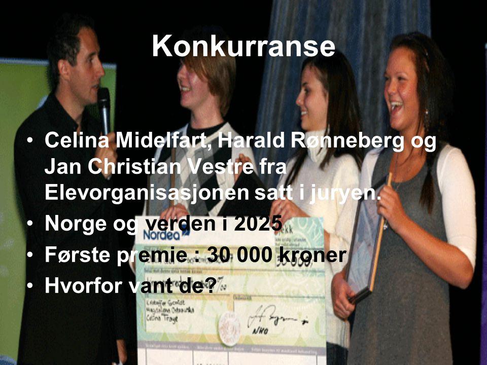 Konkurranse Celina Midelfart, Harald Rønneberg og Jan Christian Vestre fra Elevorganisasjonen satt i juryen.