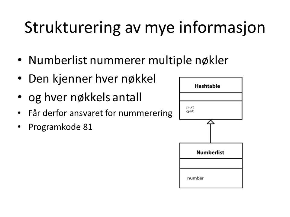 Strukturering av mye informasjon Numberlist nummerer multiple nøkler Den kjenner hver nøkkel og hver nøkkels antall Får derfor ansvaret for nummererin