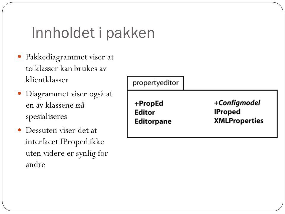 Innholdet i pakken Pakkediagrammet viser at to klasser kan brukes av klientklasser Diagrammet viser også at en av klassene må spesialiseres Dessuten viser det at interfacet IProped ikke uten videre er synlig for andre