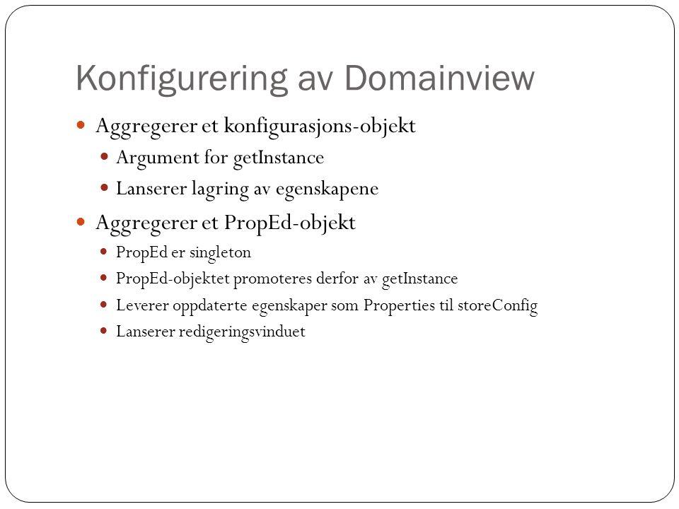 Konfigurering av Domainview Aggregerer et konfigurasjons-objekt Argument for getInstance Lanserer lagring av egenskapene Aggregerer et PropEd-objekt PropEd er singleton PropEd-objektet promoteres derfor av getInstance Leverer oppdaterte egenskaper som Properties til storeConfig Lanserer redigeringsvinduet