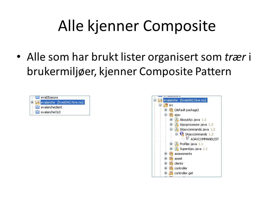 Alle kjenner Composite Alle som har brukt lister organisert som trær i brukermiljøer, kjenner Composite Pattern