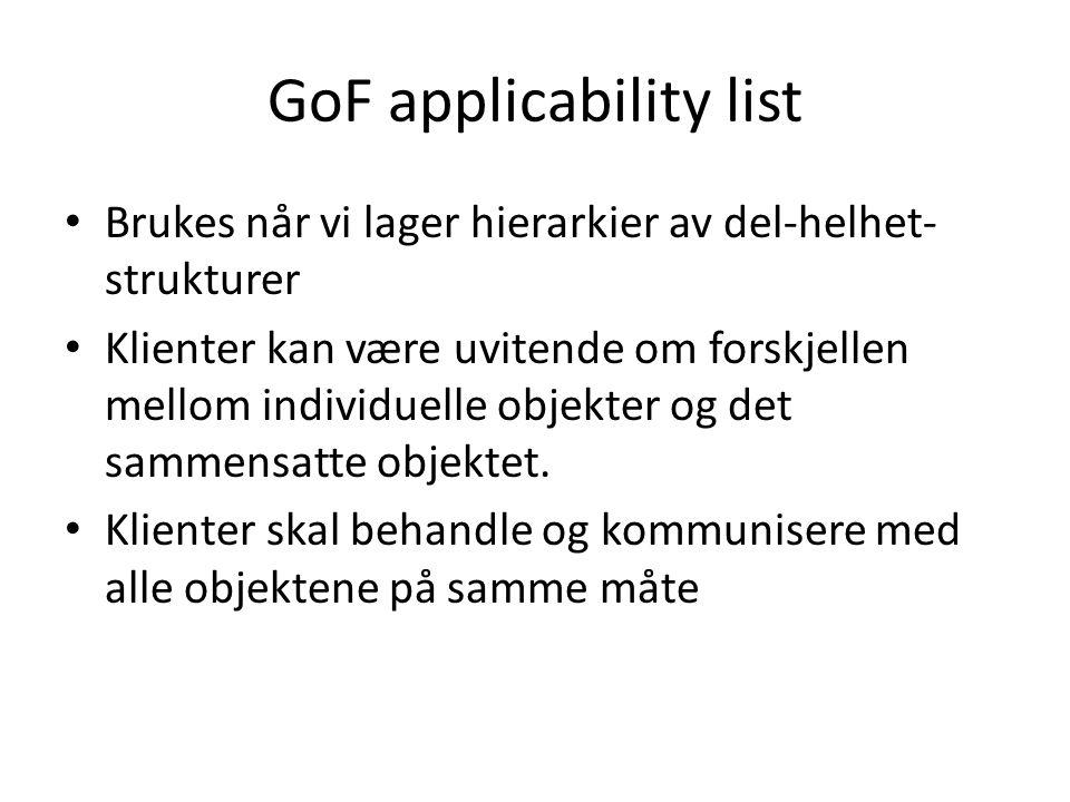 GoF applicability list Brukes når vi lager hierarkier av del-helhet- strukturer Klienter kan være uvitende om forskjellen mellom individuelle objekter og det sammensatte objektet.