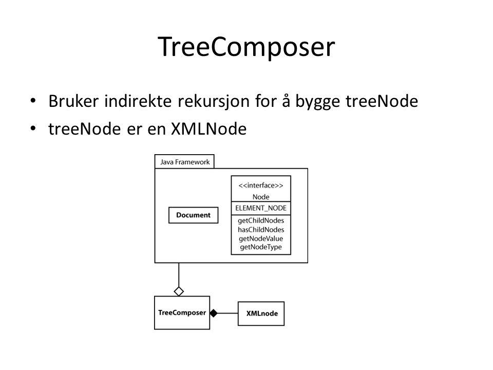 TreeComposer Bruker indirekte rekursjon for å bygge treeNode treeNode er en XMLNode