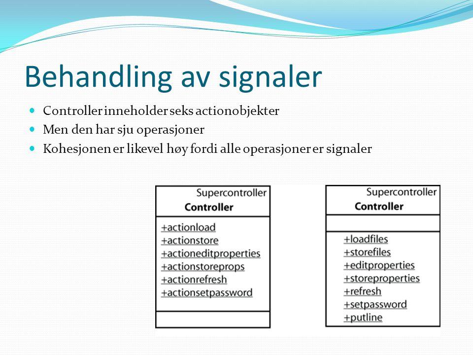 Behandling av signaler Controller inneholder seks actionobjekter Men den har sju operasjoner Kohesjonen er likevel høy fordi alle operasjoner er signaler