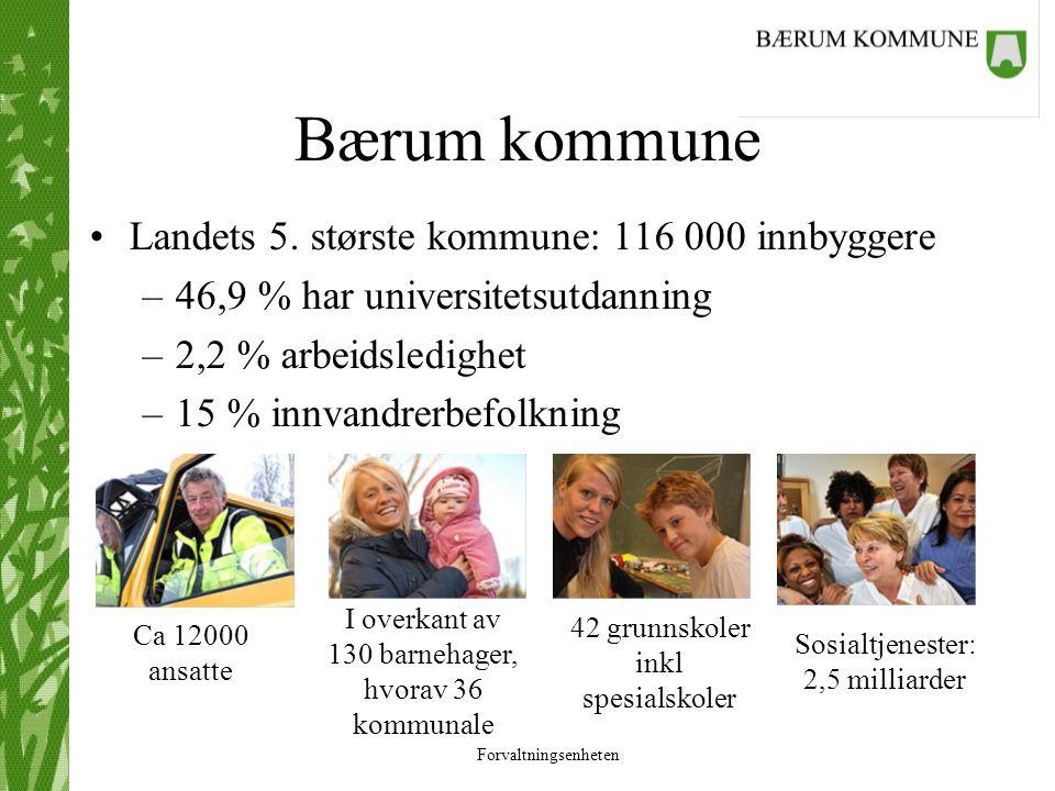 Forvaltningsenheten Bærum kommune Landets 5. største kommune: 116 000 innbyggere –46,9 % har universitetsutdanning –2,2 % arbeidsledighet –15 % innvan