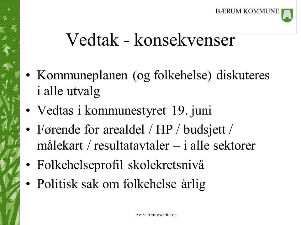 Forvaltningsenheten Vedtak - konsekvenser Kommuneplanen (og folkehelse) diskuteres i alle utvalg Vedtas i kommunestyret 19. juni Førende for arealdel