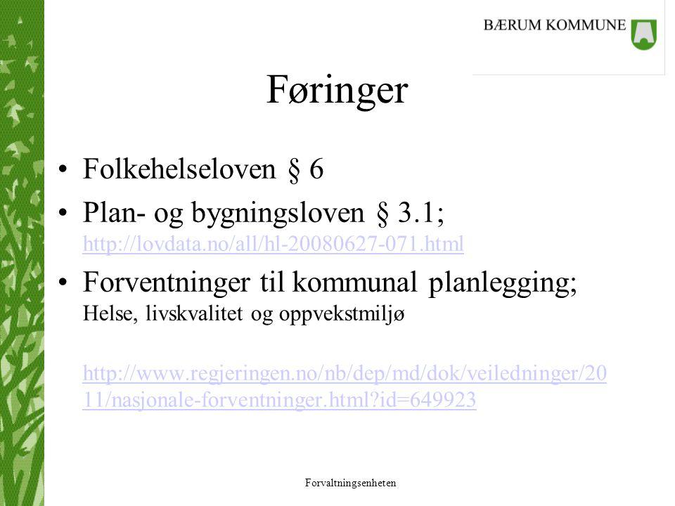 Føringer Folkehelseloven § 6 Plan- og bygningsloven § 3.1; http://lovdata.no/all/hl-20080627-071.html http://lovdata.no/all/hl-20080627-071.html Forve