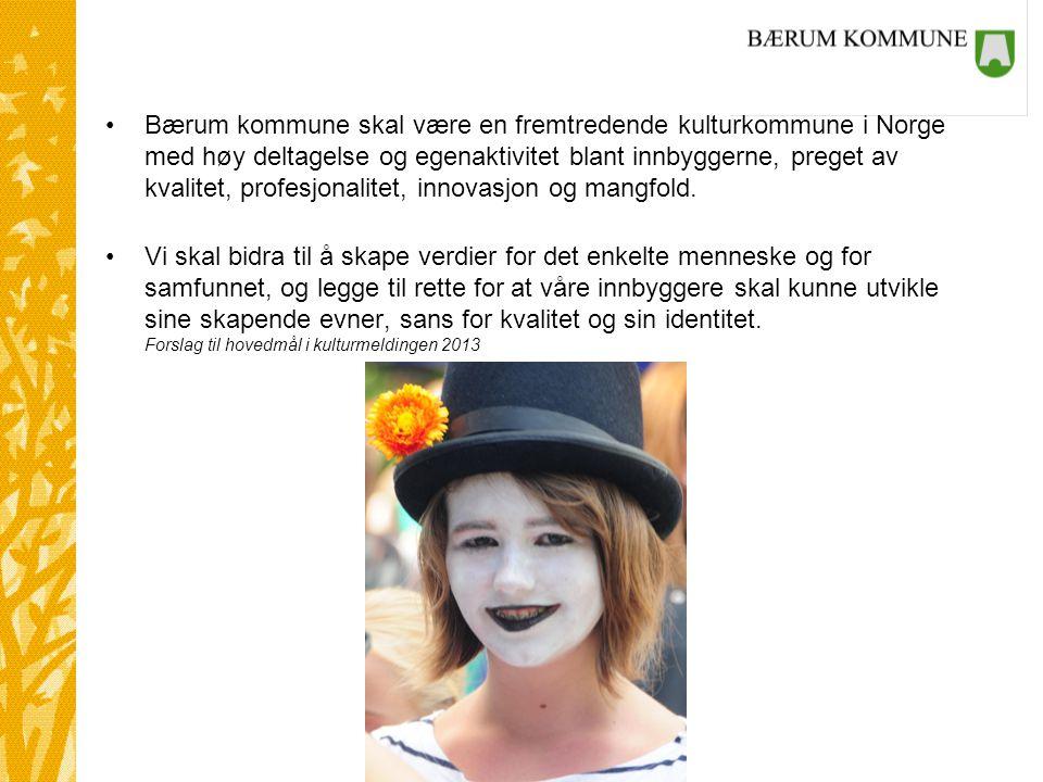 Kultur og samarbeid Bærum kommune skal være en fremtredende kulturkommune i Norge med høy deltagelse og egenaktivitet blant innbyggerne, preget av kvalitet, profesjonalitet, innovasjon og mangfold.