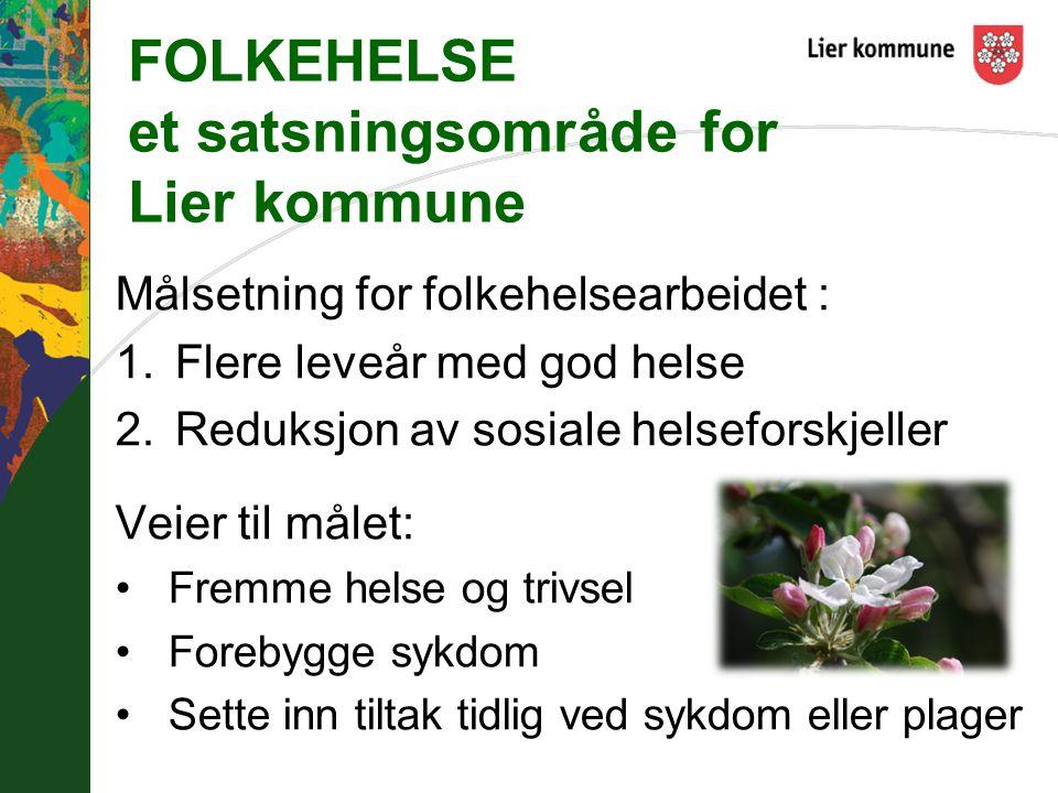 FOLKEHELSE et satsningsområde for Lier kommune Målsetning for folkehelsearbeidet : 1.Flere leveår med god helse 2.Reduksjon av sosiale helseforskjelle