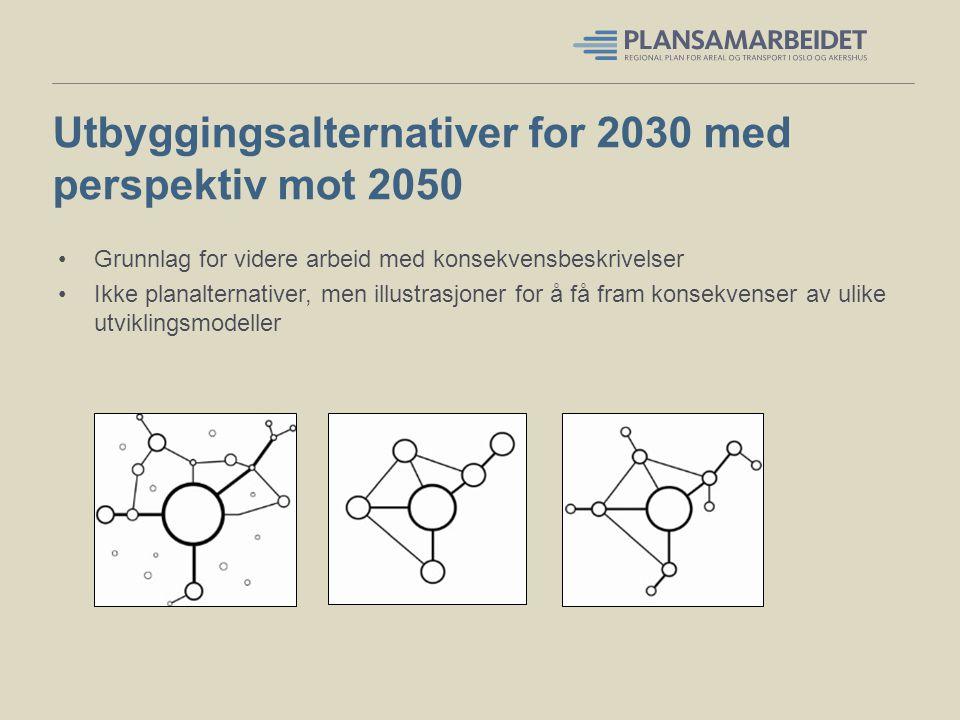 Utbyggingsalternativer for 2030 med perspektiv mot 2050 Grunnlag for videre arbeid med konsekvensbeskrivelser Ikke planalternativer, men illustrasjone