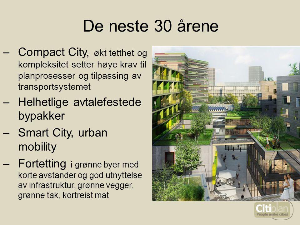 De neste 30 årene –Compact City, økt tetthet og kompleksitet setter høye krav til planprosesser og tilpassing av transportsystemet –Helhetlige avtalef