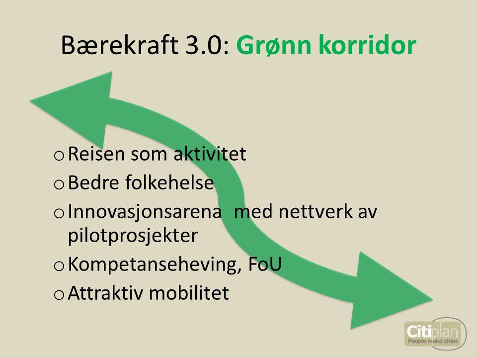 Bærekraft 3.0: Grønn korridor o Reisen som aktivitet o Bedre folkehelse o Innovasjonsarena med nettverk av pilotprosjekter o Kompetanseheving, FoU o A