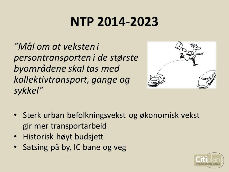 """NTP 2014-2023 """"Mål om at veksten i persontransporten i de største byområdene skal tas med kollektivtransport, gange og sykkel"""" Sterk urban befolknings"""