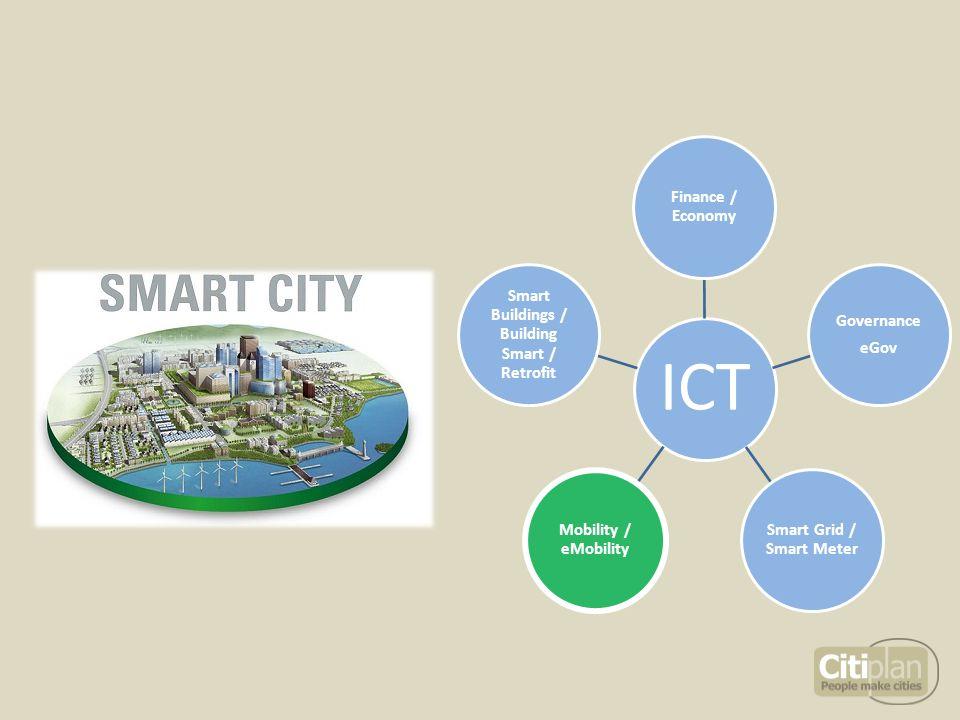 ICT Finance / Economy Governance eGov Smart Grid / Smart Meter Mobility / eMobility Smart Buildings / Building Smart / Retrofit