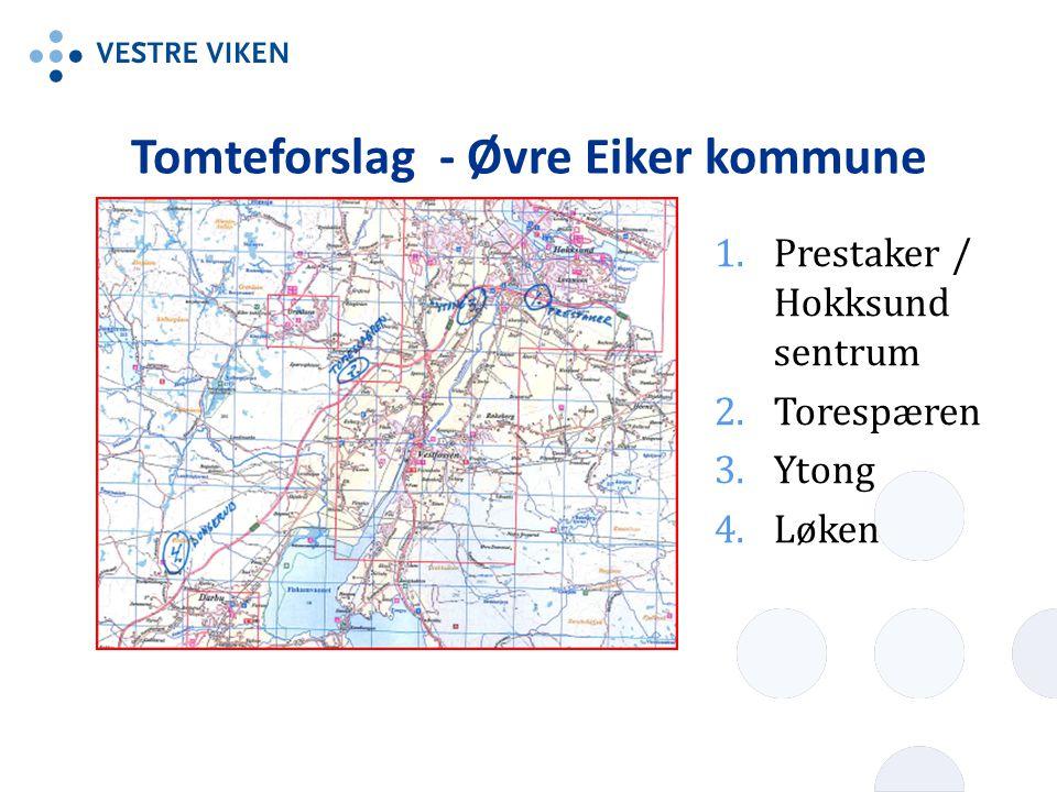 Tomteforslag - Øvre Eiker kommune 1.Prestaker / Hokksund sentrum 2.Torespæren 3.Ytong 4.Løken