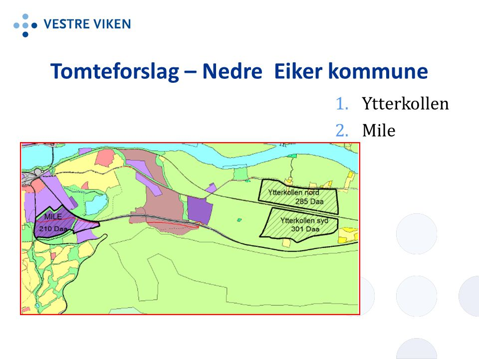 Tomteforslag – Nedre Eiker kommune 1.Ytterkollen 2.Mile
