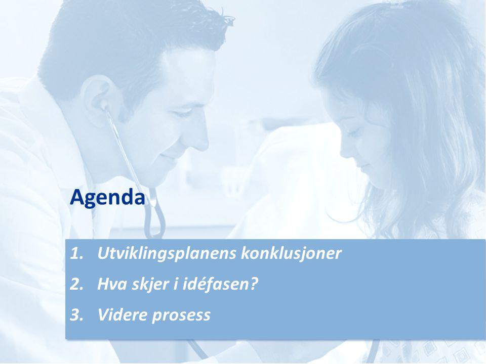 Agenda 1.Utviklingsplanens konklusjoner 2.Hva skjer i idéfasen.