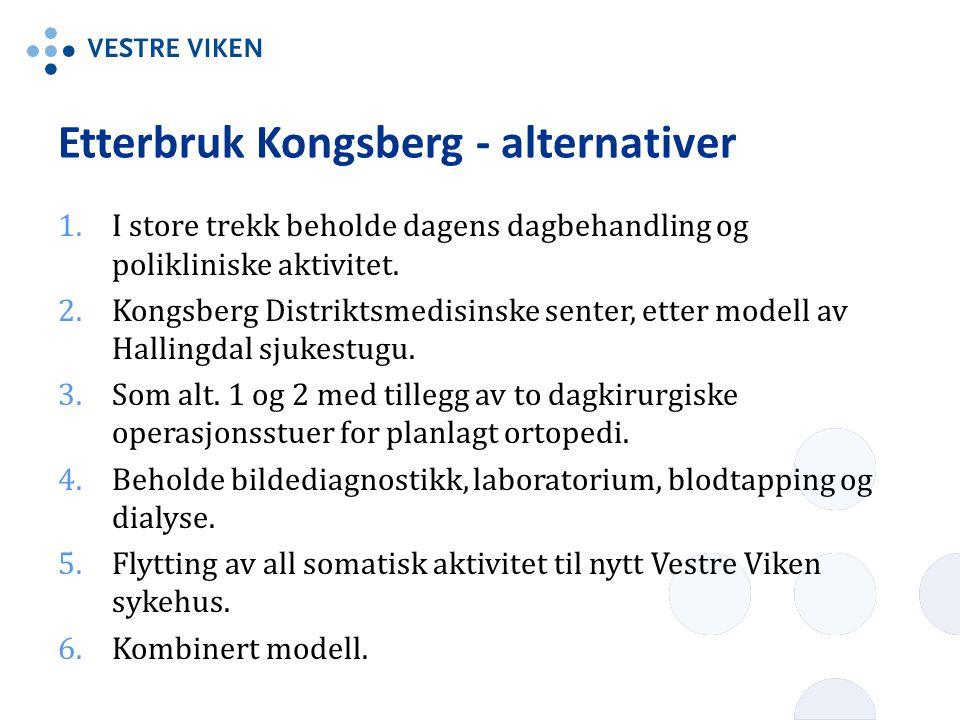 Etterbruk Kongsberg - alternativer 1.I store trekk beholde dagens dagbehandling og polikliniske aktivitet.