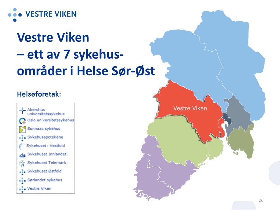 Vestre Viken – ett av 7 sykehus- områder i Helse Sør-Øst Helseforetak: 26