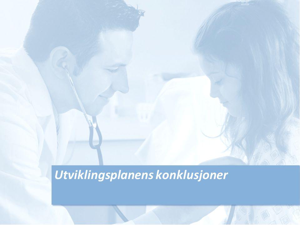 Utviklingsplanens konklusjoner - somatikk Drammen og Kongsberg slås sammen til nytt Vestre Viken-sykehus (NVVS) Bærum og Ringerike sykehus opprettholdes 0-alternativet er med videre