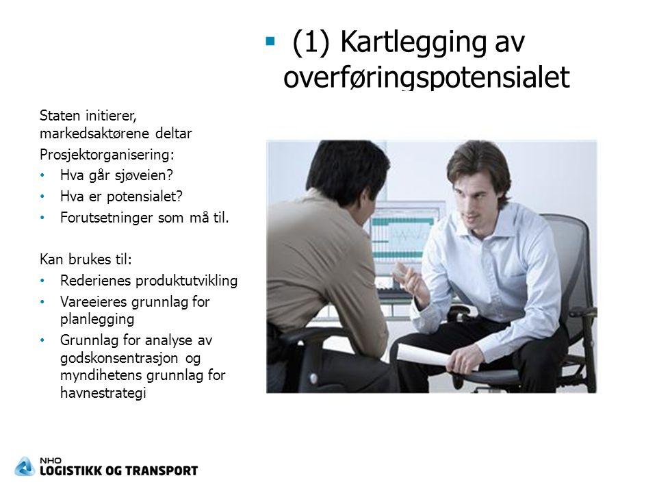  (1) Kartlegging av overføringspotensialet Staten initierer, markedsaktørene deltar Prosjektorganisering: Hva går sjøveien.