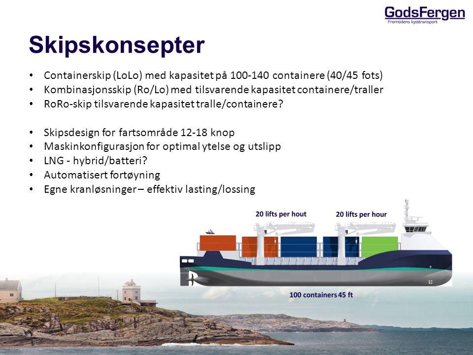 Skipskonsepter Containerskip (LoLo) med kapasitet på 100-140 containere (40/45 fots) Kombinasjonsskip (Ro/Lo) med tilsvarende kapasitet containere/tra
