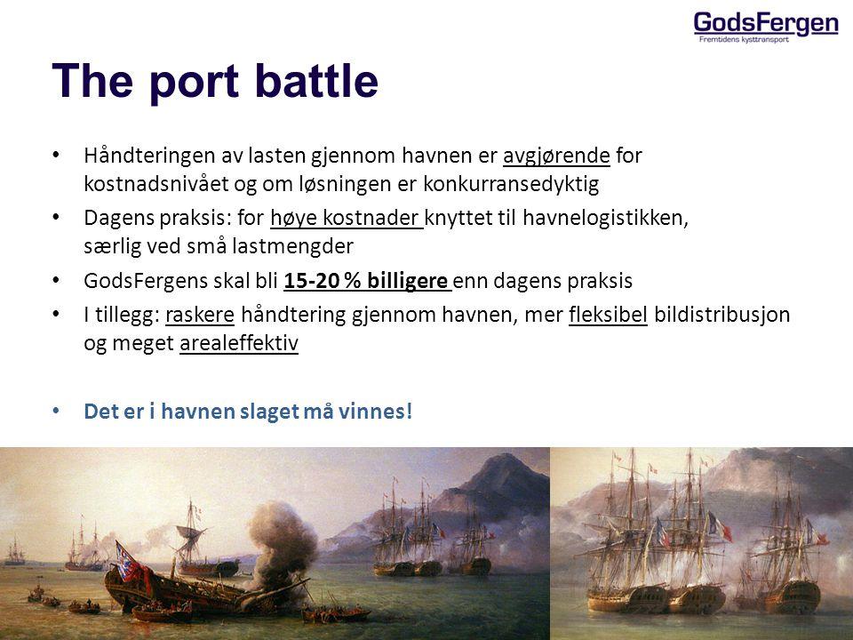 The port battle Håndteringen av lasten gjennom havnen er avgjørende for kostnadsnivået og om løsningen er konkurransedyktig Dagens praksis: for høye k